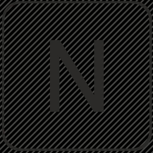 alphabet, keyboard, latin, n, uppercase, virtual icon