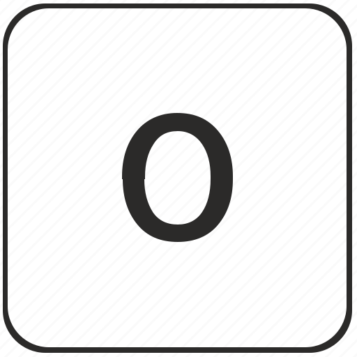alphabet, keyboard, latin, lowcase, o, virtual icon