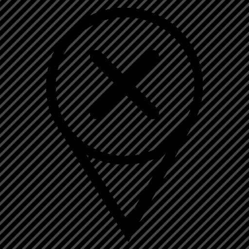 cancel, delete, map, object, poi, pointer, stop icon