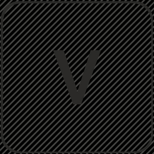 alphabet, keyboard, latin, lowcase, v, virtual icon
