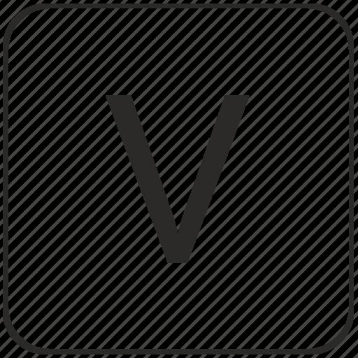alphabet, keyboard, latin, uppercase, v, virtual icon