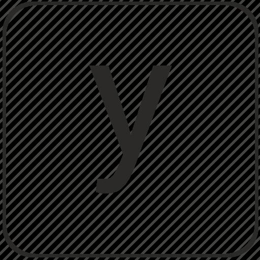 alphabet, keyboard, latin, letter, lowcase, virtual, y icon