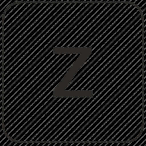 alphabet, keyboard, latin, letter, lowcase, virtual, z icon