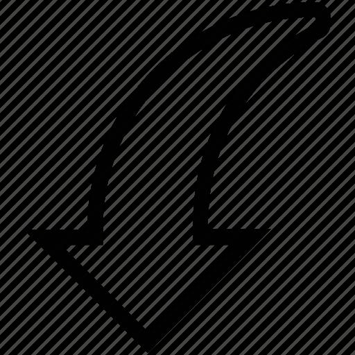 arrow, curve, curved, down, down arrow, left, line icon