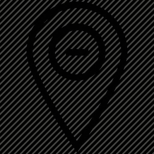 cancel, del sign, minus pin, minus sign, remove icon