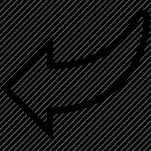 arrow, back, cancel, curved arrow, left, previous, return icon