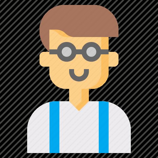 avatar, boy, freak, man, nerd, user, young icon