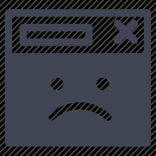 browser, internet, sad, unhappy, web, webpage icon