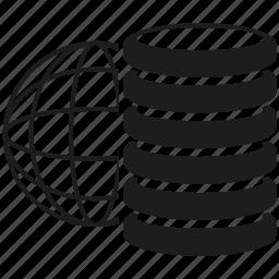globe, internet, network, server, storage icon