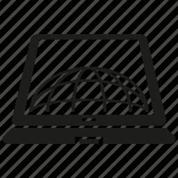 computer, globe, internet, laptop, network, www icon
