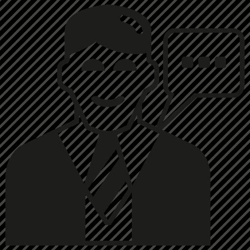 business man, man, message, speech, talk icon