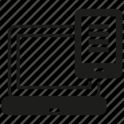 computer, gadget, laptop, mobile phone, sync icon