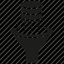 database, filter, funnel, server icon