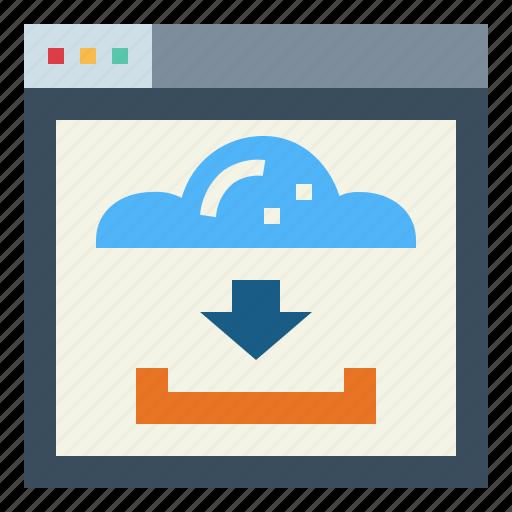 arrow, down, download, file, website icon