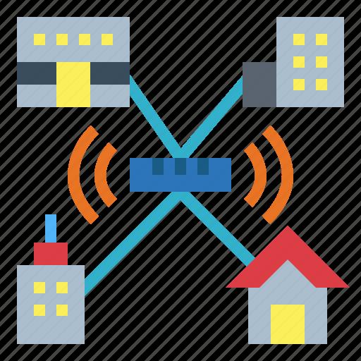 area, man, metropolitan, network, technology icon