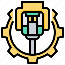 connection, digital, gear, network, system icon