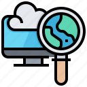 analysis, cloud, computer, networking, process icon