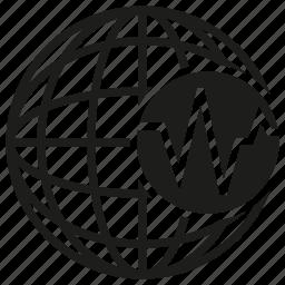 analysis, analytics, chart, globe, graph, world icon