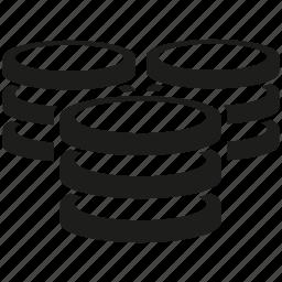 database, internet, network, server, storage icon