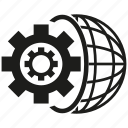 cog, gear, globe icon