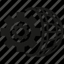 cog, gear, globe