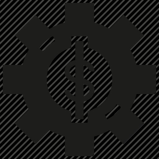 cog, cog wheel, dollar, gear, money icon