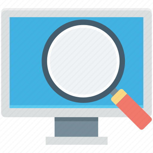 find screen, led, magnifying, monitor screen, search screen icon