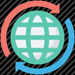globe synchronization, loading arrows, processing arrows, refresh, sync icon