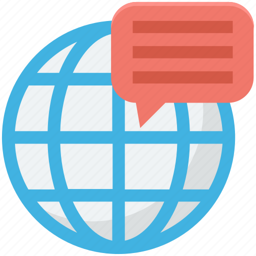 chat, chatting, globe, globe chat, worldwide icon