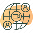 globe, mobile, video call, video chat, video conference icon