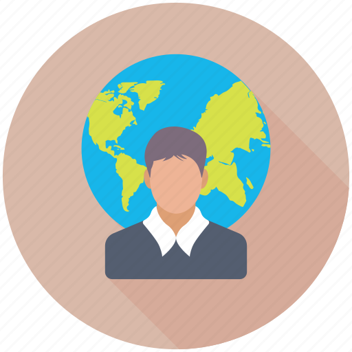 global businessman, global employee, global user, internet user, social user icon
