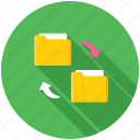 copy folder, folder exchange, folder share, folder sync, folder transfer icon