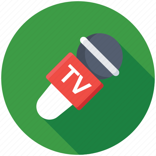 microphone, news reporting, recording studio, tv channel, tv mic icon