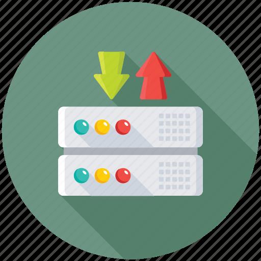 backup database, data center, database recovery, download database, upload database icon