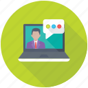 chat bubble, chat support, live chat, online communication, web conference icon