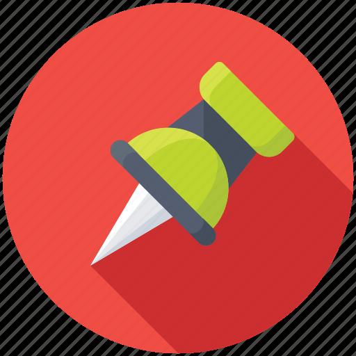 map marker, noticeboard pin, push pin, stationery, thumbtack icon