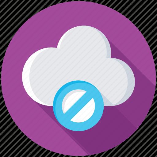 cloud access denied, cloud blocked, cloud computing error, cloud error, cloud network error icon