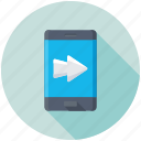 mobile app, mobile communication, mobile screen arrow, mobile ui, smartphone icon