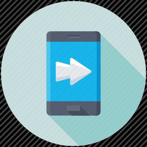 mobile app, mobile communication, mobile screen arrow, mobile ui, smartphone icon