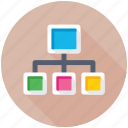 flowchart, network, network hierarchy, sharing network, sitemap icon