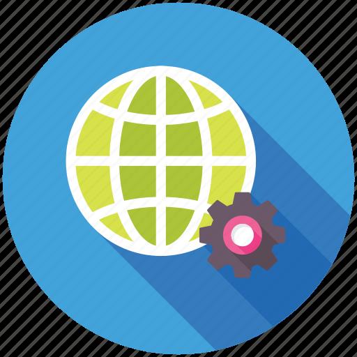 earth gear, global development, global options, globe inside gear, online strategies icon