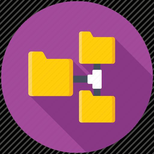 connected folder, folder hierarchy, folder sharing, networking, server folder icon