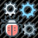 bug fixing, bug, fixing, virus, cogwheels