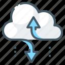 arrows, cloud, cloud storage, storage icon