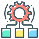 cogwheel, hypervisor, network, operating systems, virtual machine monitor icon