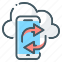 cloud, mobile, mobile apps syncing, smartphone, syncing icon