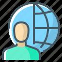 account, globe, man, profile, user icon