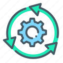 cogwheel, sync, system, system update, update icon