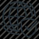 globe, secure, security, shield, web, web security icon