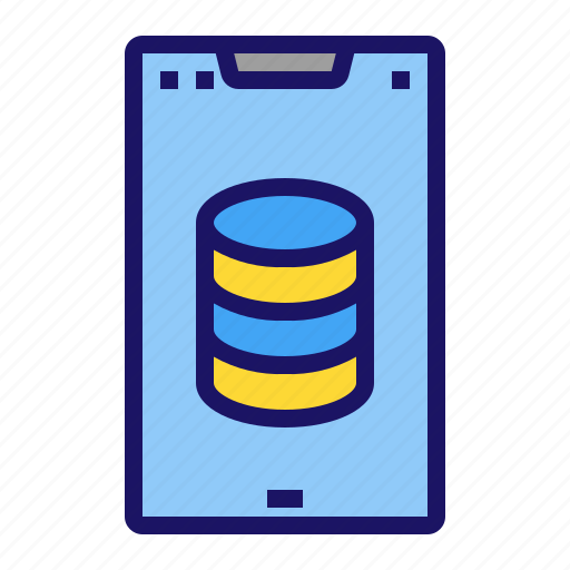 database, mobile, phone, server, smartphone icon